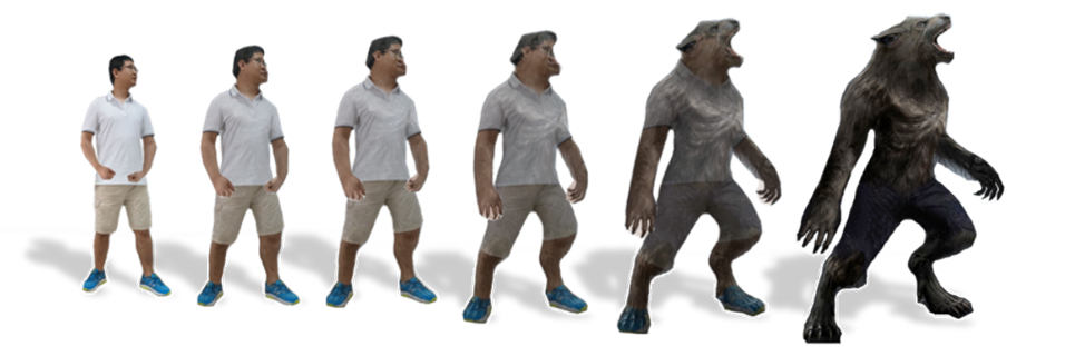 An Interactive Human Morphing System with Self-occlusion Enhancement